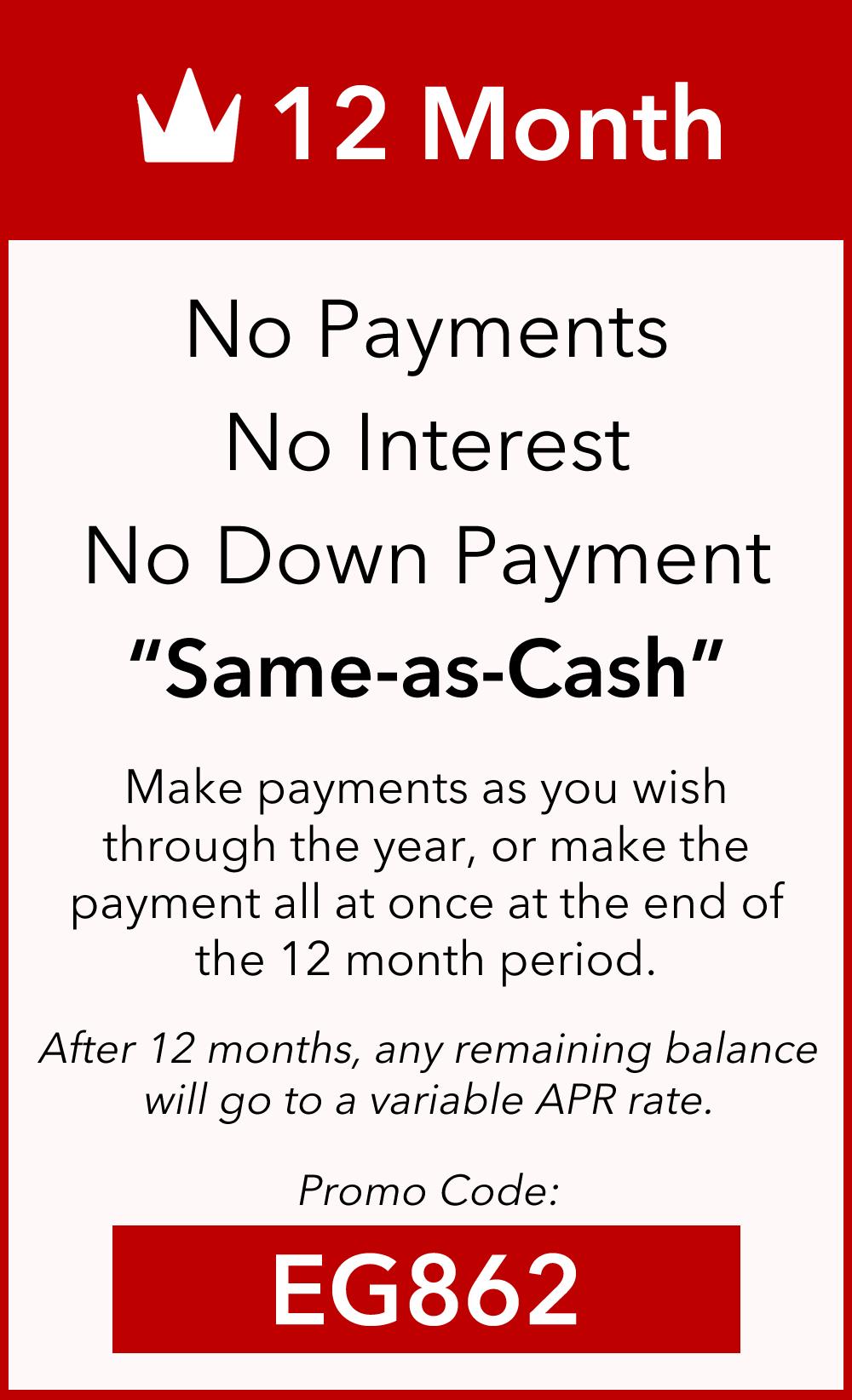 12 Month Same as Cash